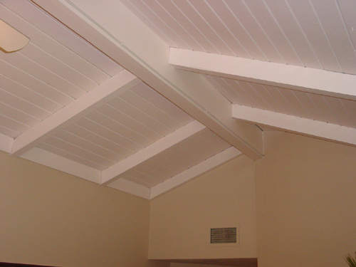 Faux wood - Painting wood beams on ceiling ...