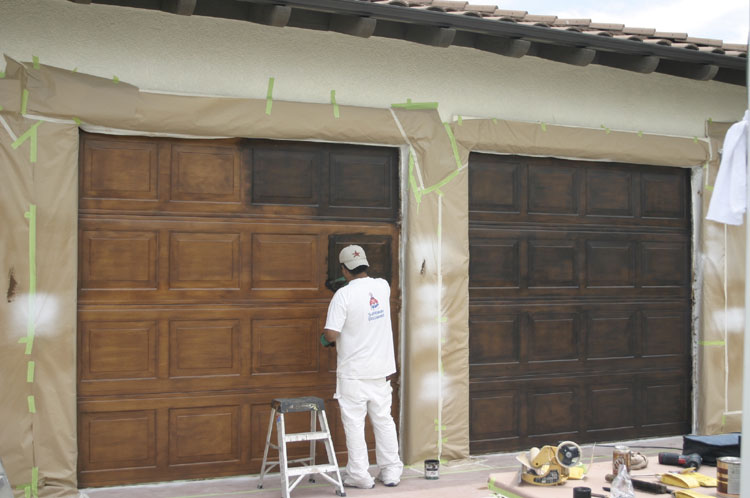 Faux garage doors for How to paint a garage door to look like wood